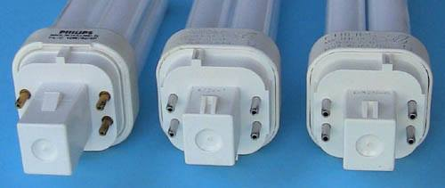 Foto van de 3 lampvoeten. G24q-1 voor de 10W en 13W, G24q-2 voor de 18W, G24q-3 voor de 26W
